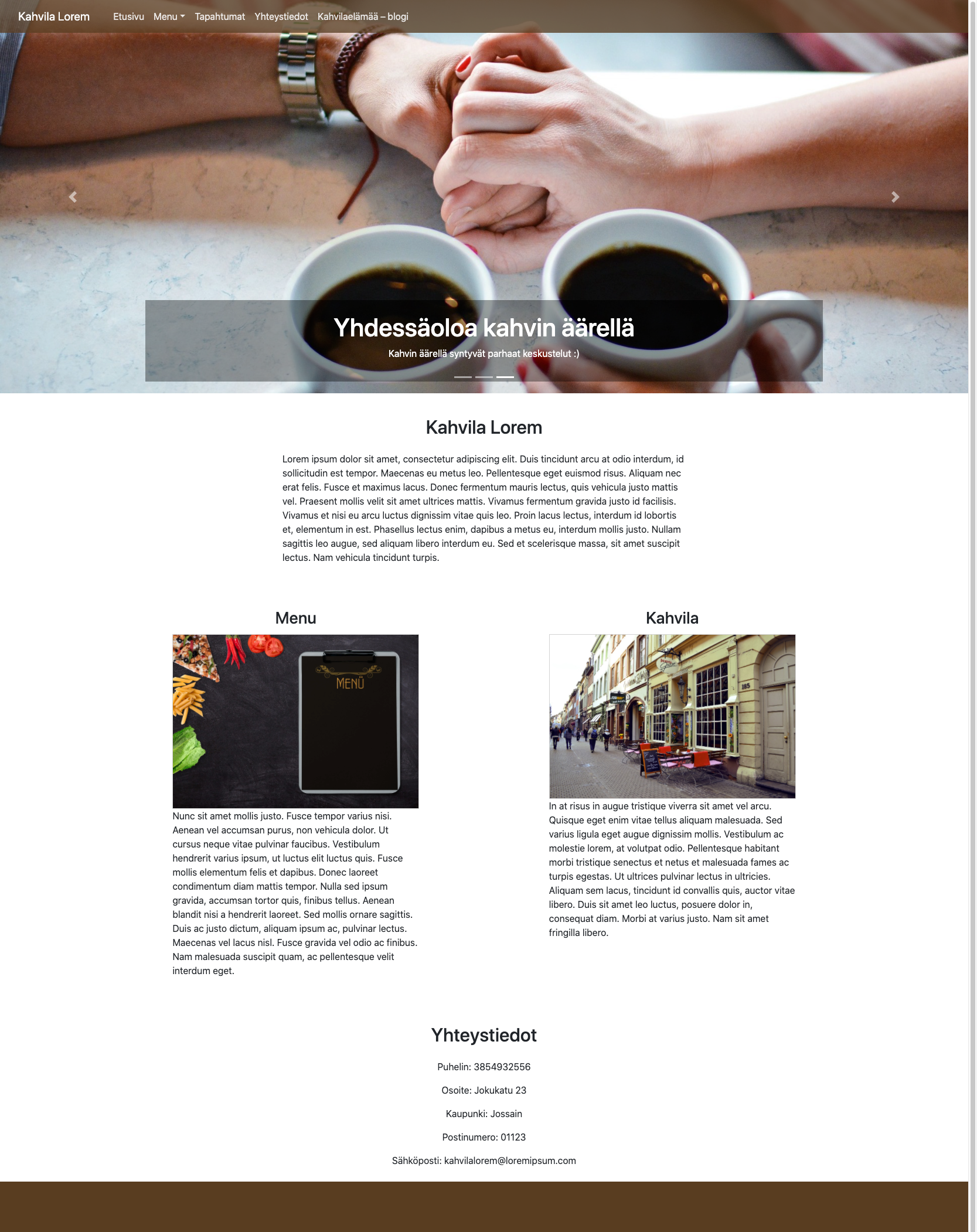 Kuva Cafe Lorem-sivustosta